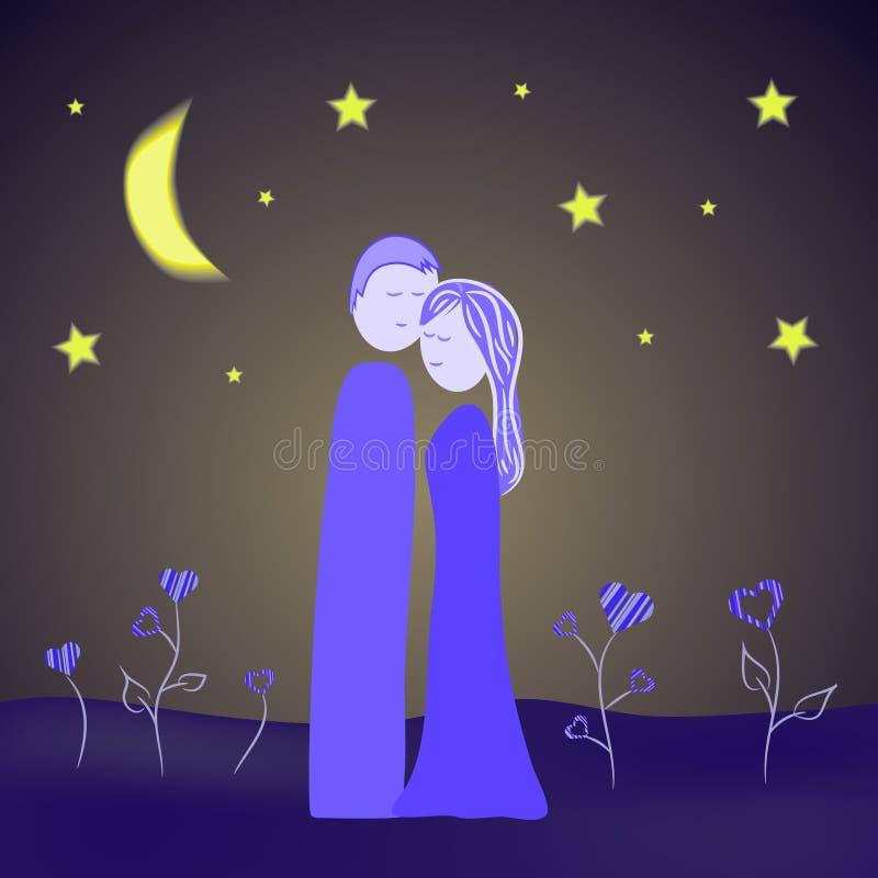 Ejemplo de los pares en la noche ilustración del vector