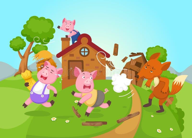 Ejemplo de los pequeños cerdos aislados del cuento de hadas tres stock de ilustración