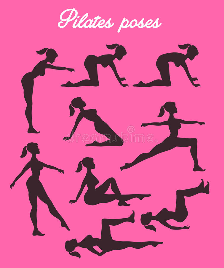 Ejemplo de los pilates del vector Actitudes de Pilates Sil de ejercicio femenino ilustración del vector