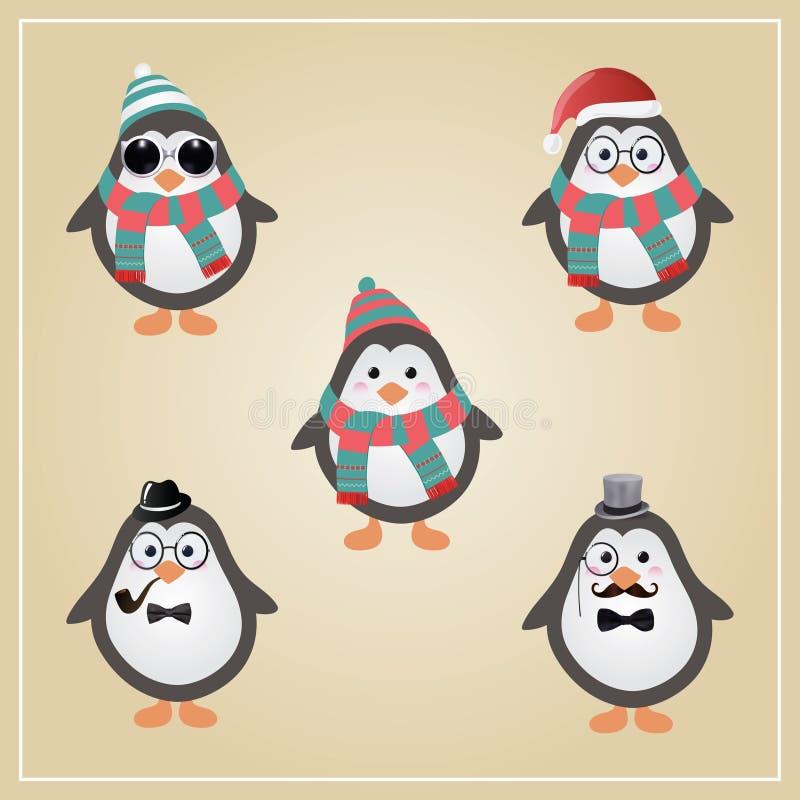 Ejemplo de los pingüinos del inconformista del invierno ilustración del vector