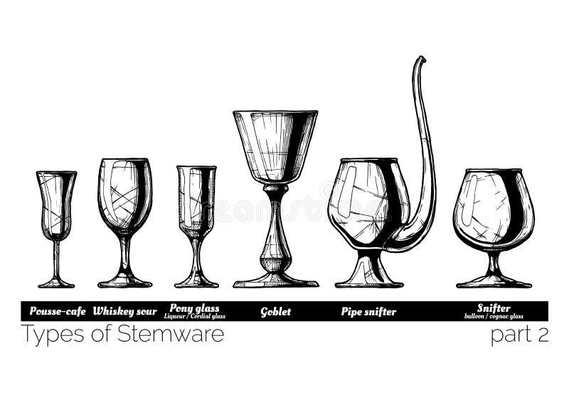 Ejemplo de los tipos del Stemware stock de ilustración