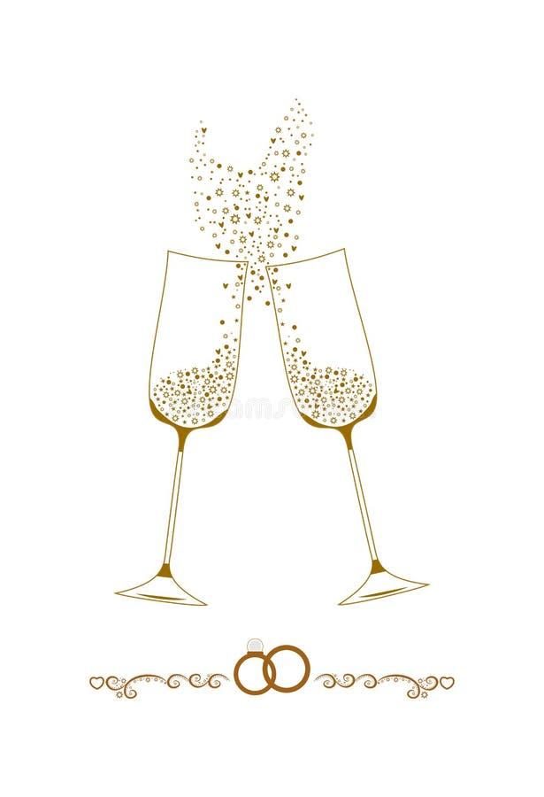 Ejemplo de los vidrios del champán de la boda imagenes de archivo