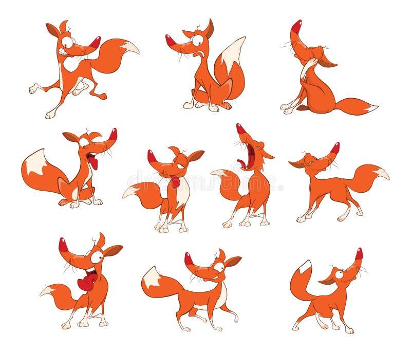 Ejemplo de los zorros divertidos de un sistema Personaje de dibujos animados de la historieta ilustración del vector