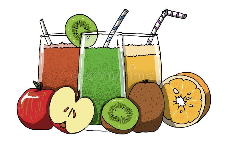 Ejemplo de los zumos de fruta ilustración del vector