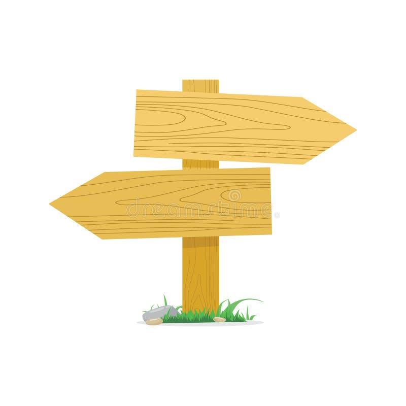 Ejemplo de madera vacío del vector de la flecha de los letreros ilustración del vector