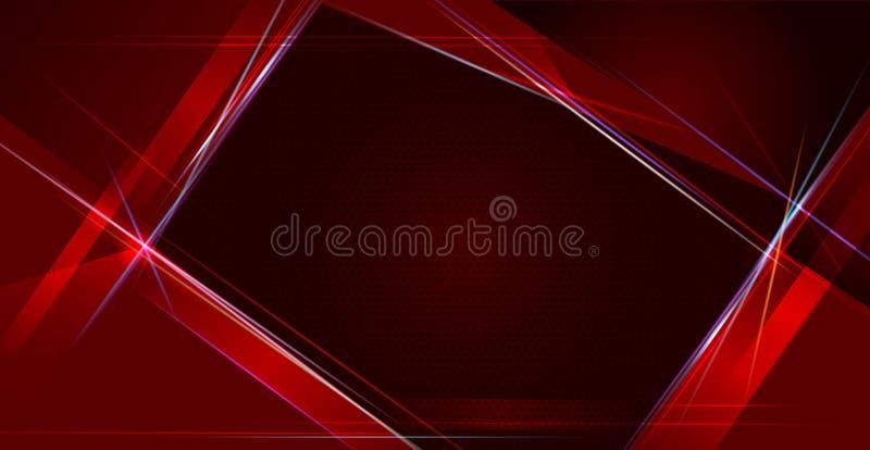 Ejemplo de metálico rojo y negro abstracto con el rayo ligero y la línea brillante Diseño del marco metálico para el fondo ilustración del vector