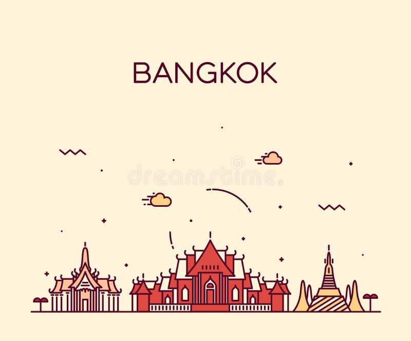 Ejemplo de moda del vector del horizonte de Bangkok linear ilustración del vector