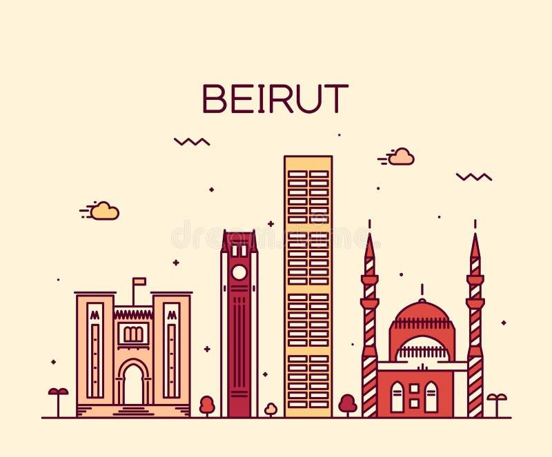 Ejemplo de moda del vector del horizonte de Beirut linear libre illustration
