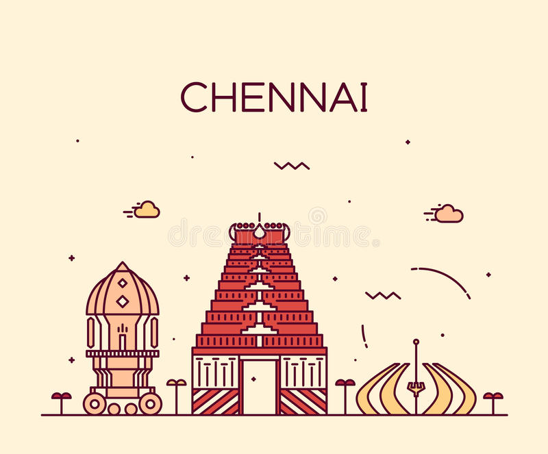 Ejemplo de moda del vector del horizonte de Chennai linear ilustración del vector