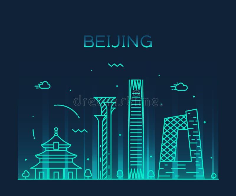 Ejemplo de moda del vector del horizonte de Pekín linear libre illustration