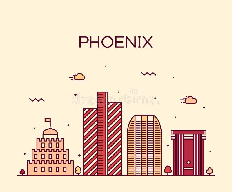 Ejemplo de moda del vector del horizonte de Phoenix linear ilustración del vector