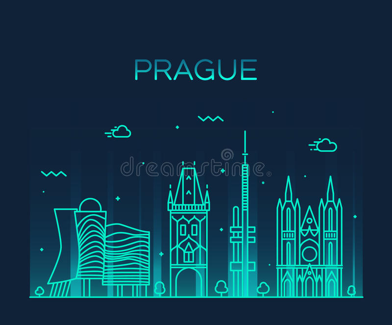 Ejemplo de moda del vector del horizonte de Praga linear libre illustration