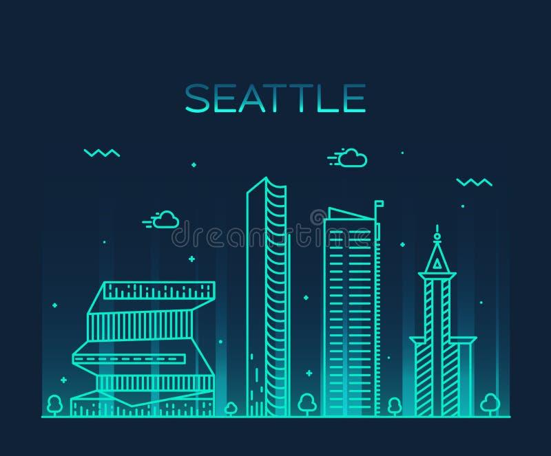 Ejemplo de moda del vector del horizonte de Seattle linear stock de ilustración