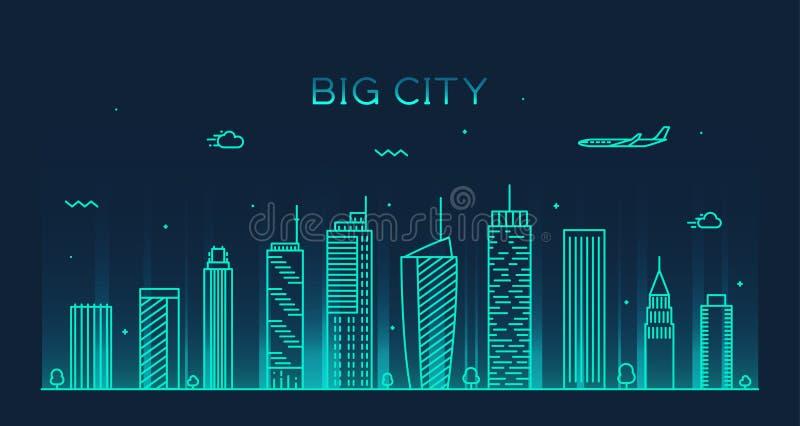 Ejemplo de moda del vector del horizonte grande de la ciudad linear ilustración del vector