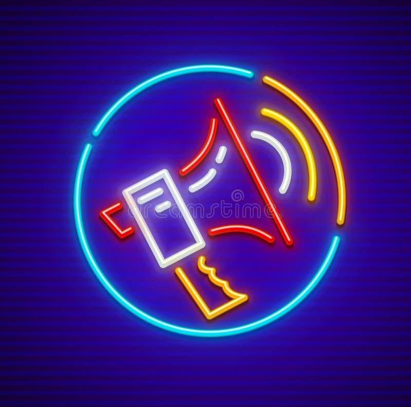 Ejemplo de neón del vector del icono del altavoz, eps10 libre illustration