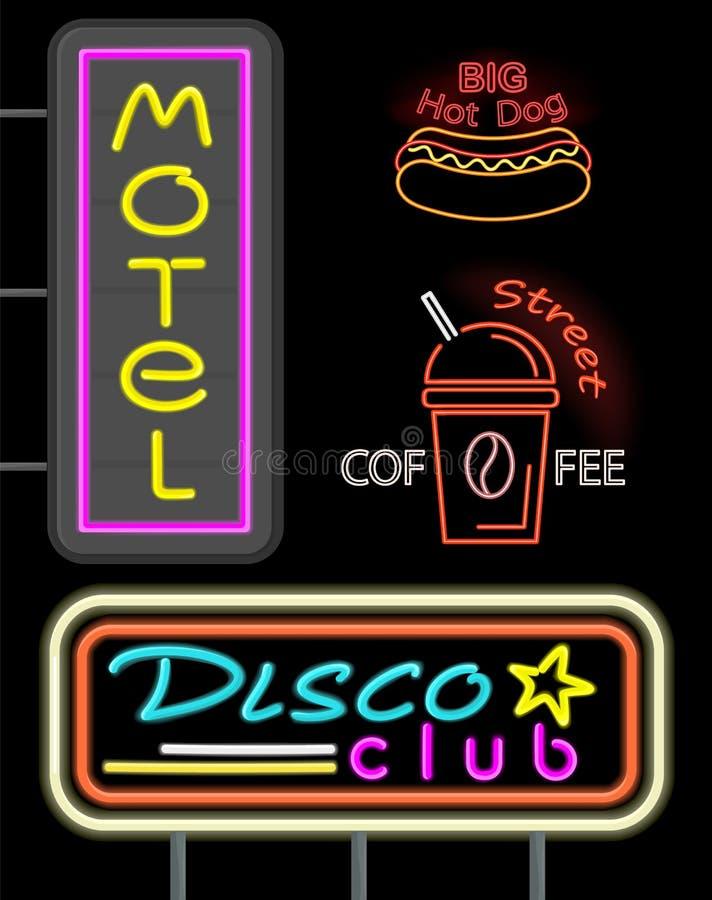 Ejemplo de neón determinado del vector del club del motel y del disco ilustración del vector