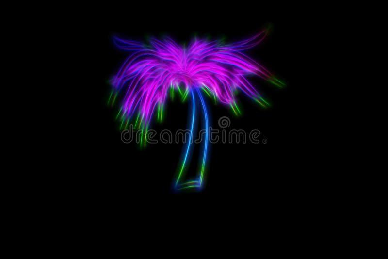 Ejemplo de neón de la palma en fondo negro stock de ilustración