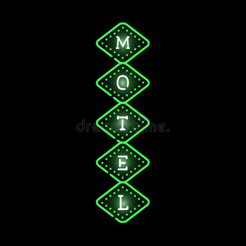 Ejemplo de neón ligero del vector de la etiqueta del motel libre illustration