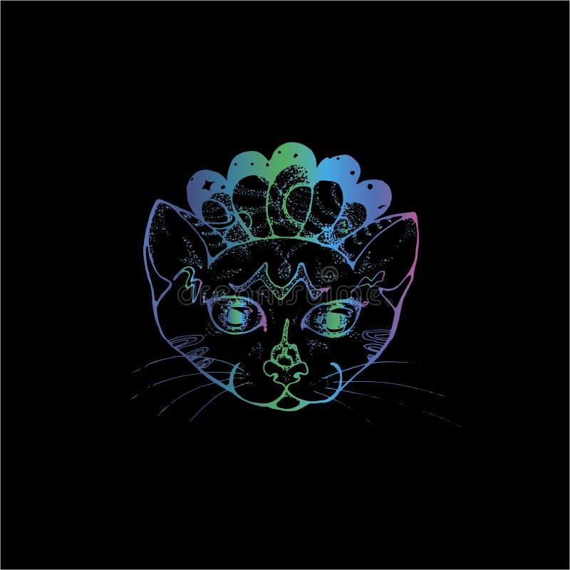 Ejemplo de neón de un retrato de un gato psyhedelic Espacio y animal doméstico cósmicos ilustración del vector