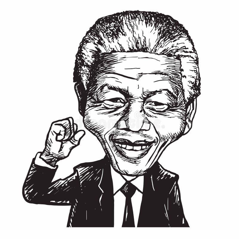 Ejemplo de Nelson Mandela Cartoon Caricature Vector stock de ilustración
