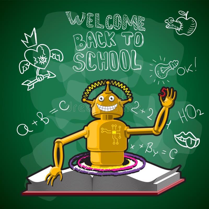 Ejemplo de nuevo a la escuela, los dibujos porta del vector del libro del robot del consejo escolar con tiza en el tablero sticke stock de ilustración
