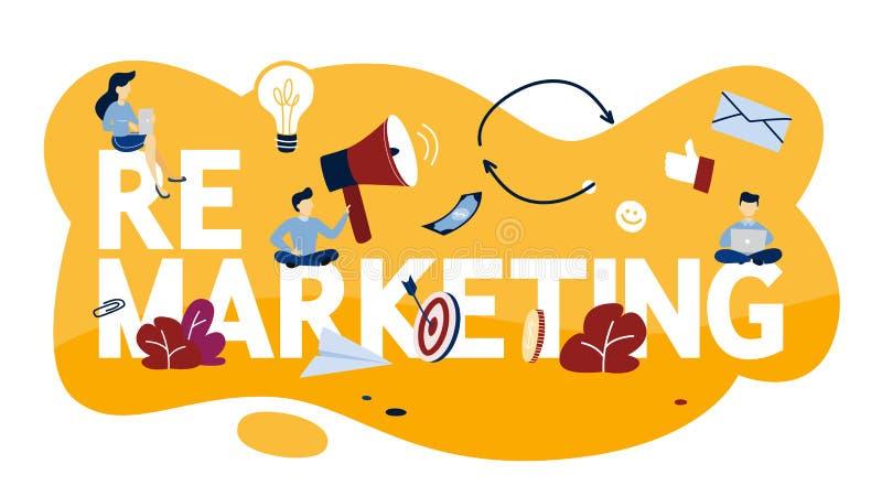 Ejemplo de nuevo lanzamiento de nuevo del concepto Estrategia empresarial o campaña stock de ilustración