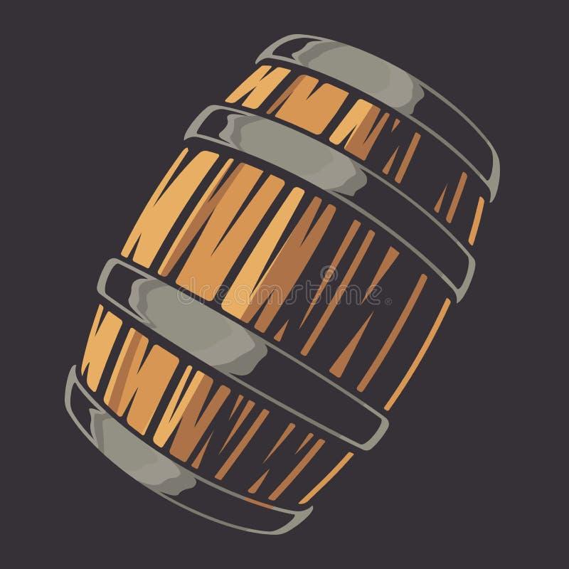 Ejemplo de NVector de un barril de cerveza en un fondo oscuro stock de ilustración