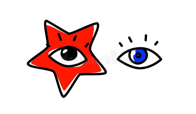 Ejemplo de ojos humanos Vector La mirada se dirige al espectador Una imagen de un estrella del pop Estrella roja como maquillaje  stock de ilustración