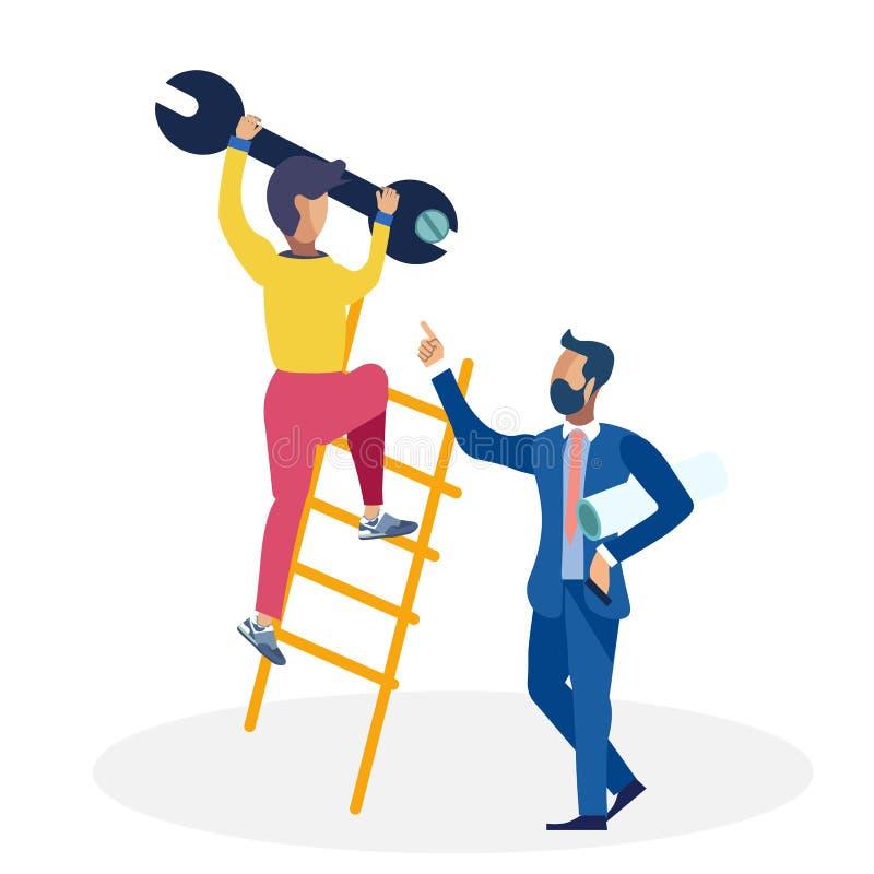 Ejemplo de Ordering Subordinate Flat del hombre de negocios libre illustration