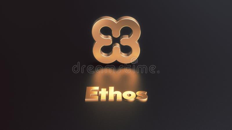 Ejemplo de oro del icono 3d del cryptocurrency del carácter fotografía de archivo libre de regalías
