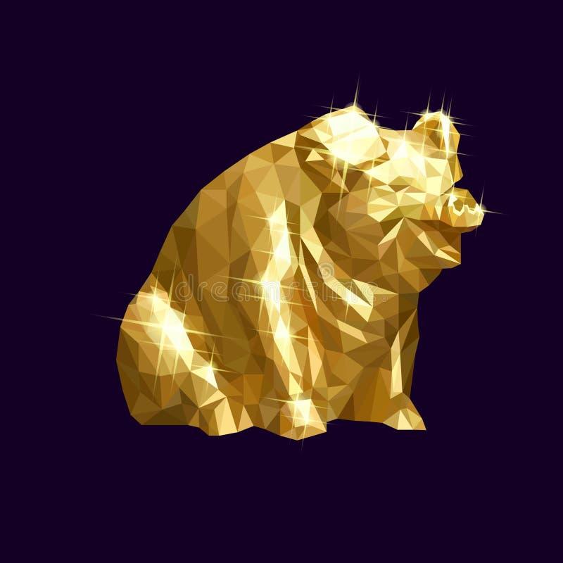 Ejemplo de oro del vector del cerdo bajo stock de ilustración