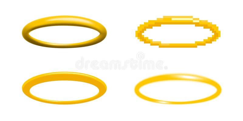 Ejemplo de oro del vector del halo en cuatro diversos estilos ilustración del vector