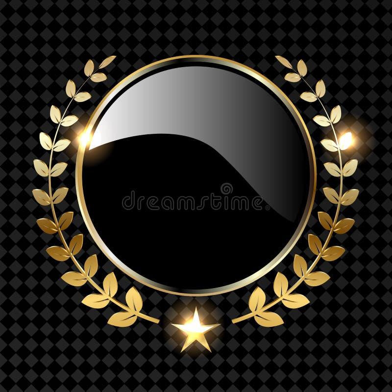 Ejemplo de oro del vector de la guirnalda del laurel aislado en fondo negro stock de ilustración