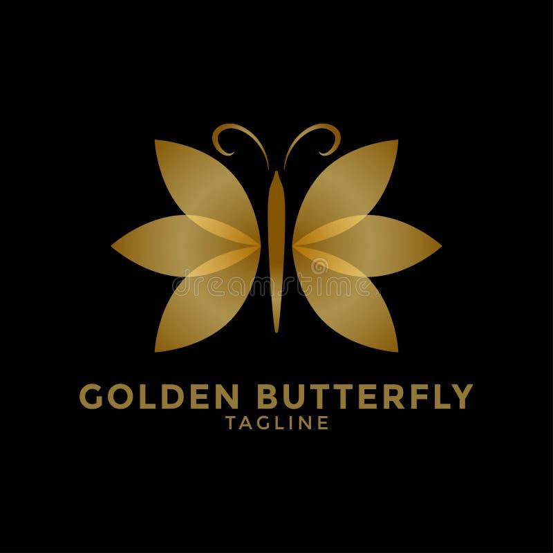 Ejemplo de oro del vector de la plantilla del diseño del icono del logotipo de la mariposa stock de ilustración