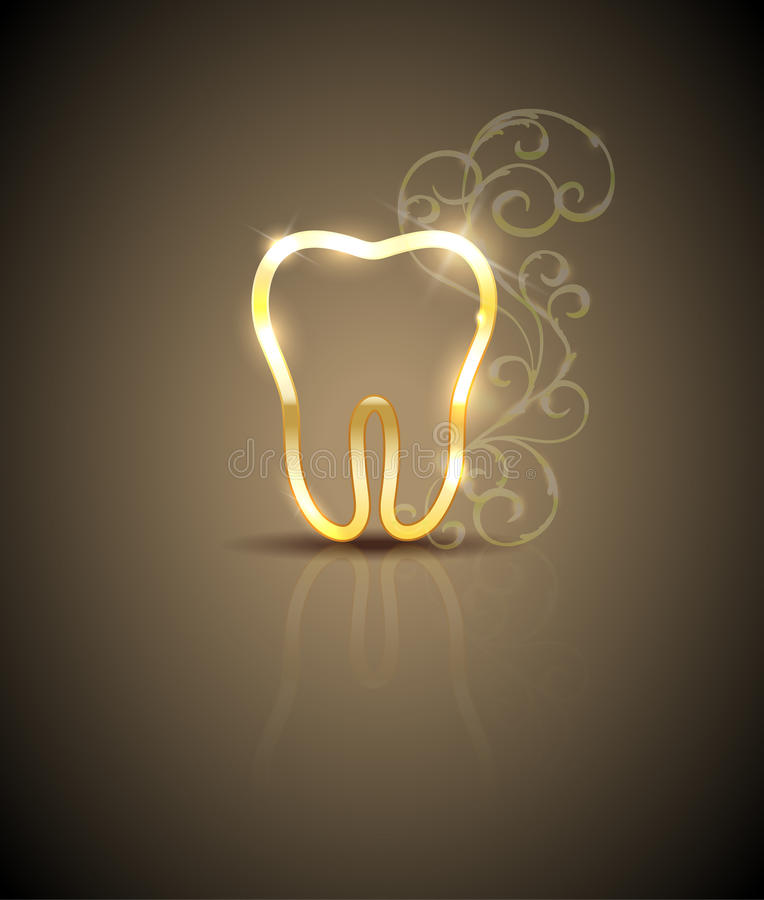 Ejemplo de oro hermoso del diente libre illustration