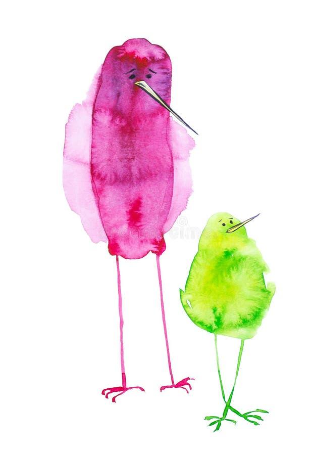 Ejemplo de pájaros abstractos serios y divertidos, infantil, sistema de la acuarela Impresión, elementos del diseño Aislado en bl libre illustration