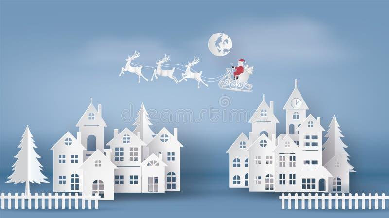Ejemplo de Papá Noel en el cielo que viene a la ciudad ilustración del vector