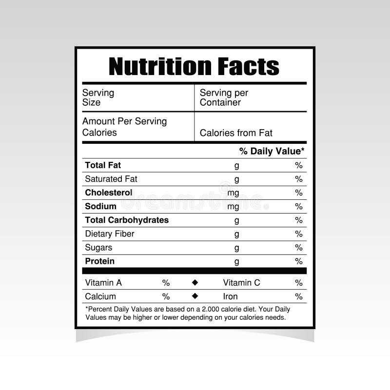 Ejemplo de papel de la comida de los hechos de la nutrición ilustración del vector