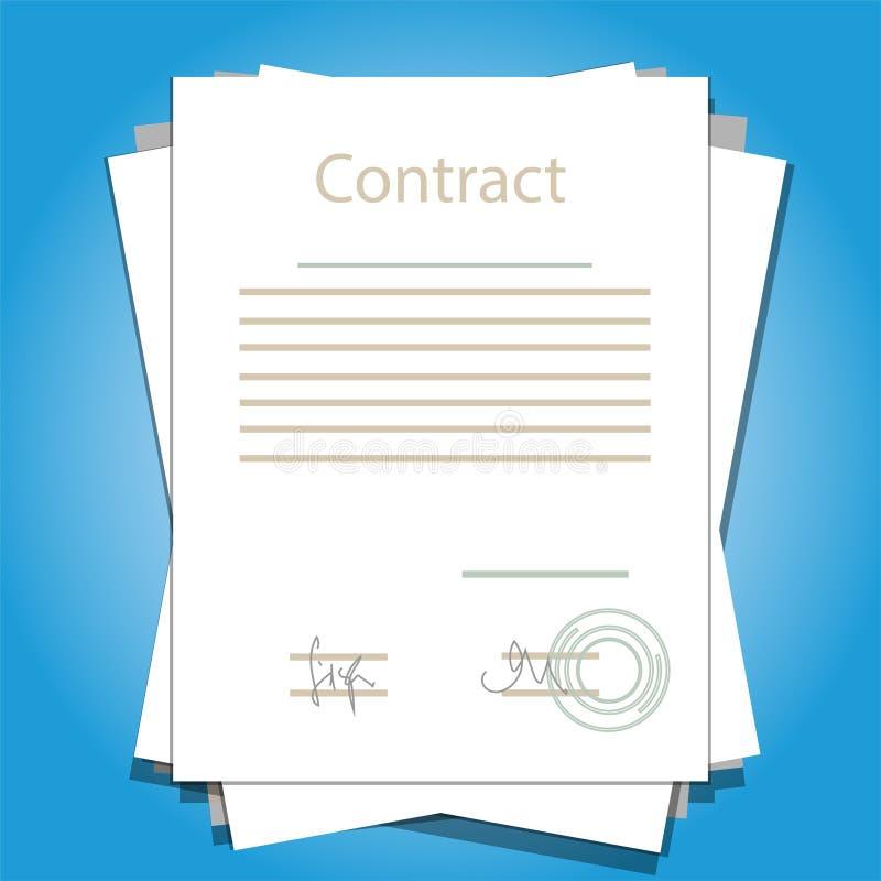 Ejemplo de papel firmado del vector del negocio del acuerdo de contrato del trato stock de ilustración
