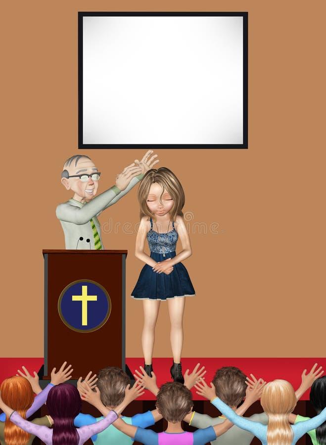 Ejemplo de Pastor Praying Healing Miracle Service ilustración del vector