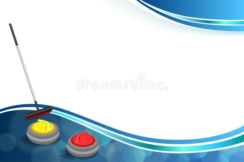 Ejemplo de piedra amarillo rojo abstracto del marco de la escoba del hielo azul del deporte del fondo que se encrespa ilustración del vector