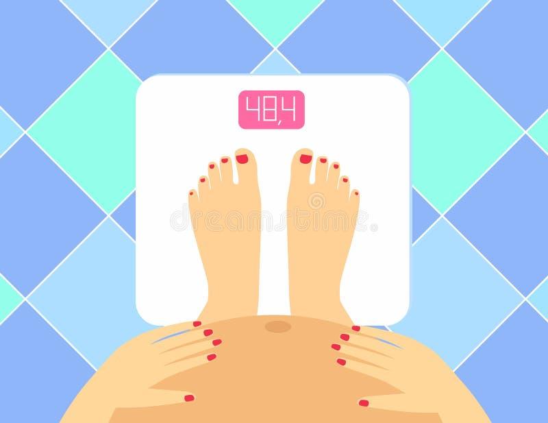 Ejemplo de piernas y de la panza femeninas embarazadas en las escalas del piso Vigilante del peso del vector Mujer embarazada el  stock de ilustración