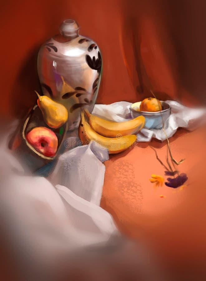 Ejemplo de plátanos en la tabla stock de ilustración
