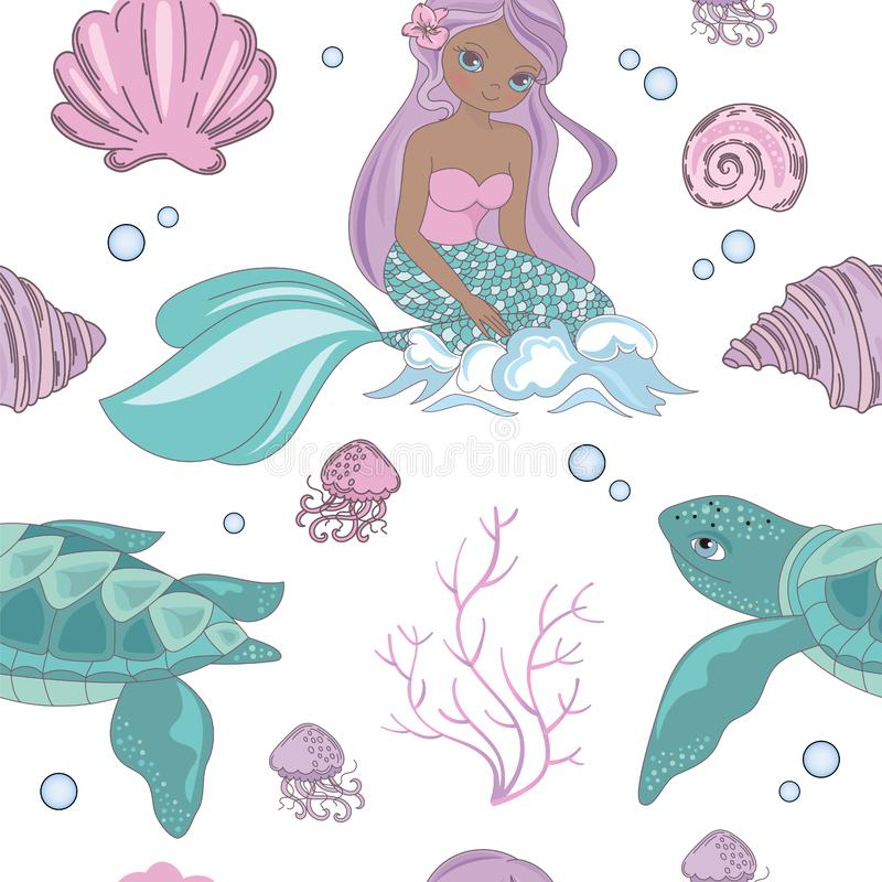 Ejemplo de princesa Seamless Pattern Vector de la sirena de la ONDA del MAR libre illustration