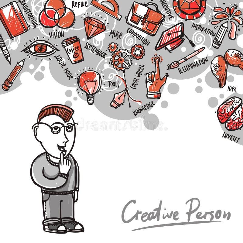 Ejemplo de proceso creativo ilustración del vector