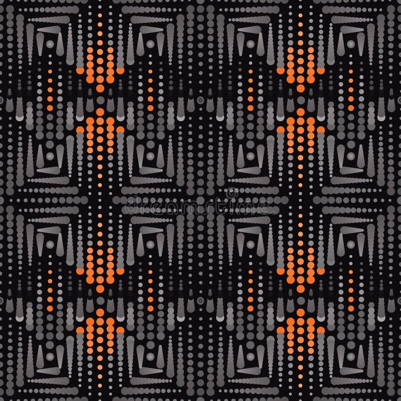 Ejemplo de puntos y de círculos en sombras de gris y de anaranjado en fondo negro stock de ilustración