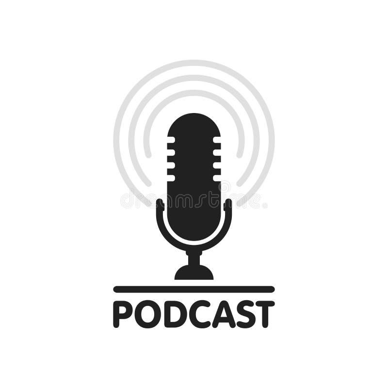 Ejemplo de radio del icono del podcast El micrófono de la tabla del estudio con el texto de la difusión hace un podcast el logoti stock de ilustración