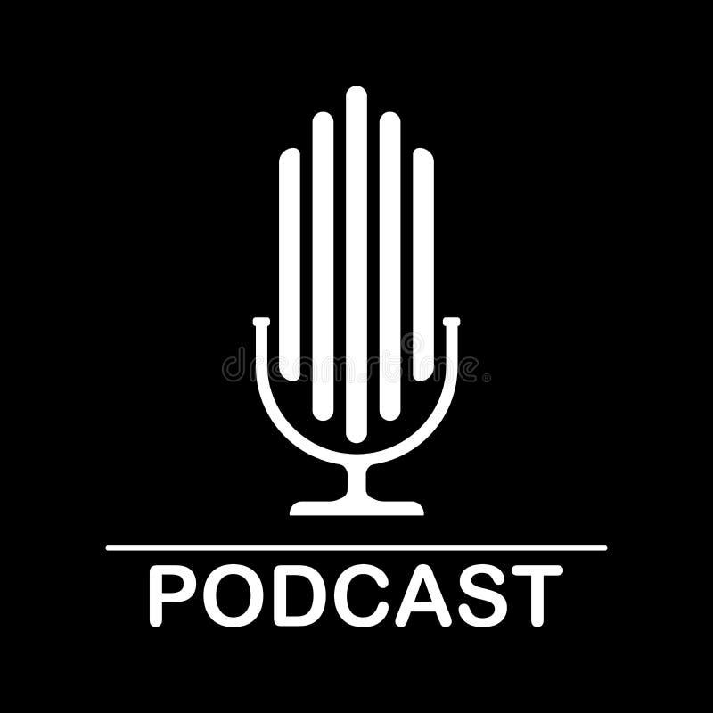 Ejemplo de radio del icono del podcast El micr?fono de la tabla del estudio con el texto de la difusi?n hace un podcast el logoti libre illustration