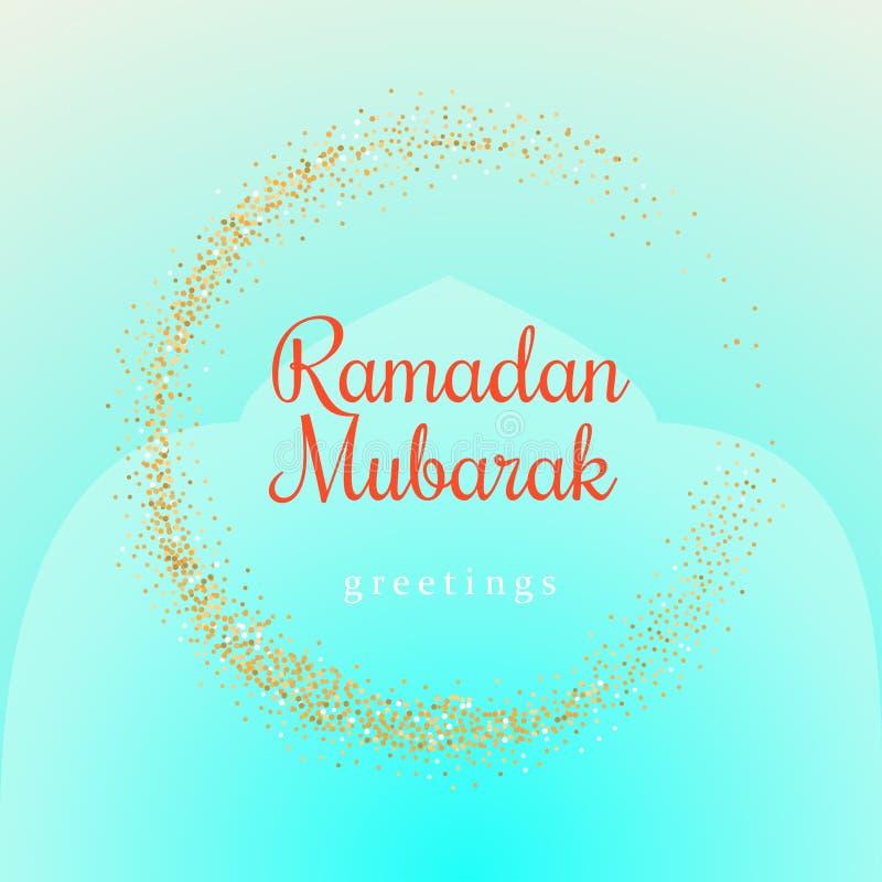 Ejemplo de Ramadan Kareem con símbolo de oro de la luna en un fondo ligero de la turquesa stock de ilustración