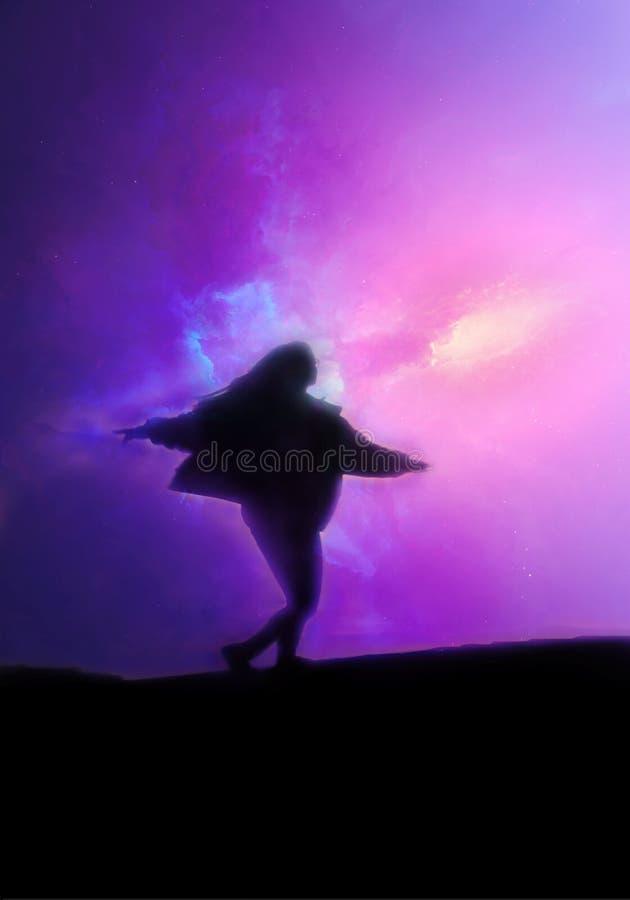 Ejemplo de representación abstracto de un sueño lúcido de una muchacha que viaja con otras dimensiones ilustración del vector